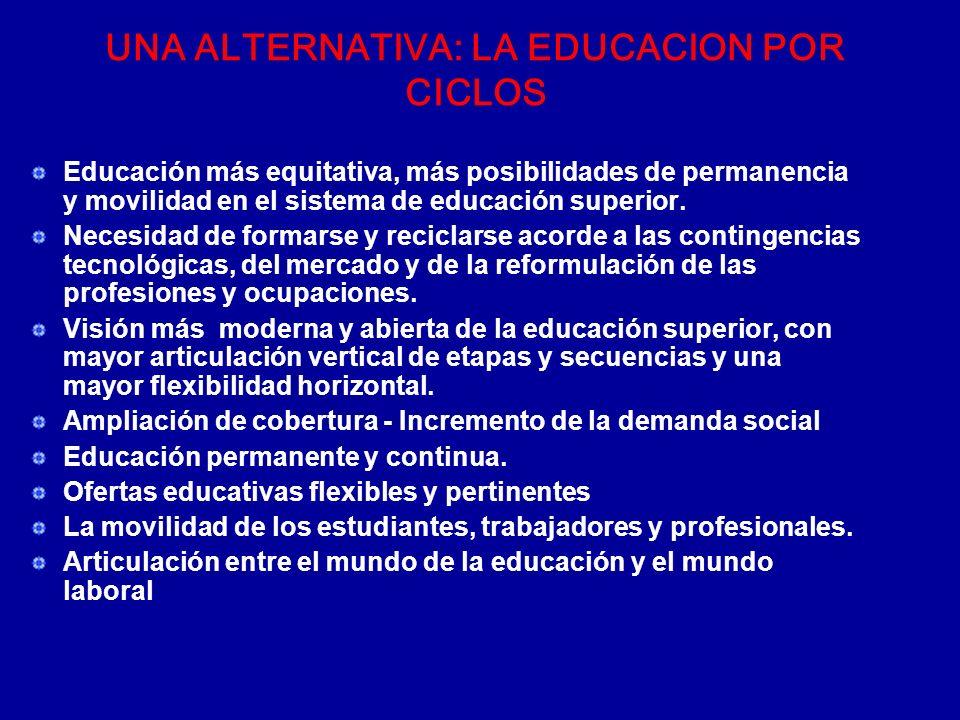 UNA ALTERNATIVA: LA EDUCACION POR CICLOS Educación más equitativa, más posibilidades de permanencia y movilidad en el sistema de educación superior. N