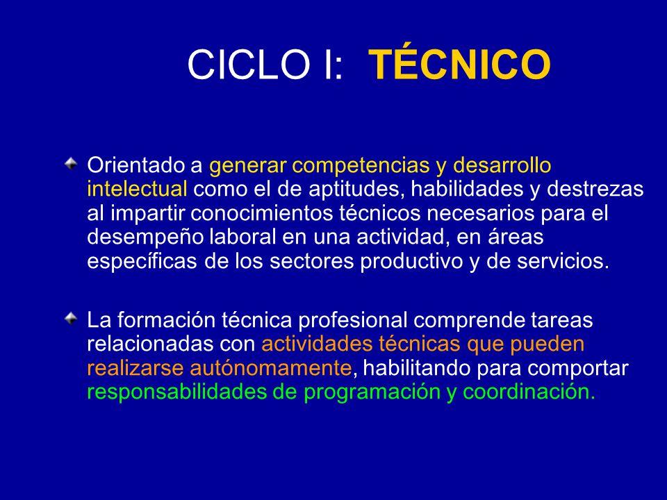 CICLO I: TÉCNICO Orientado a generar competencias y desarrollo intelectual como el de aptitudes, habilidades y destrezas al impartir conocimientos téc