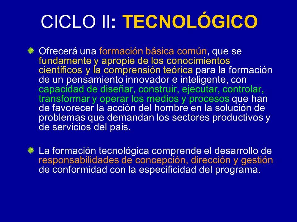 CICLO II: TECNOLÓGICO Ofrecerá una formación básica común, que se fundamente y apropie de los conocimientos científicos y la comprensión teórica para