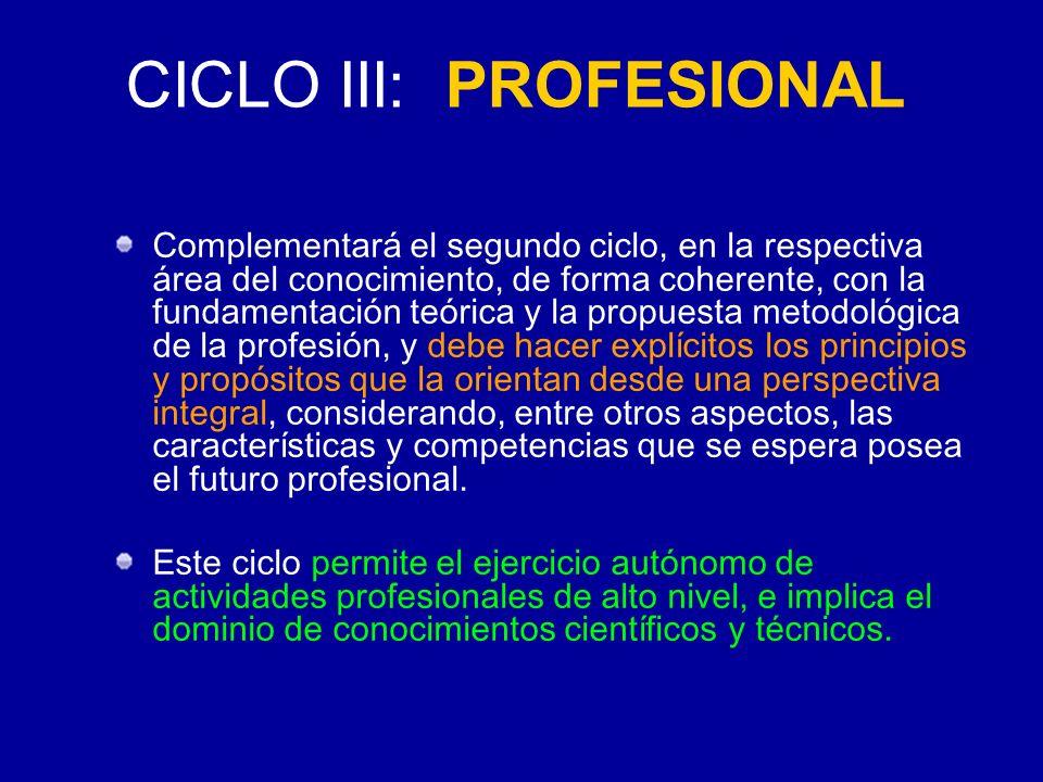CICLO III: PROFESIONAL Complementará el segundo ciclo, en la respectiva área del conocimiento, de forma coherente, con la fundamentación teórica y la