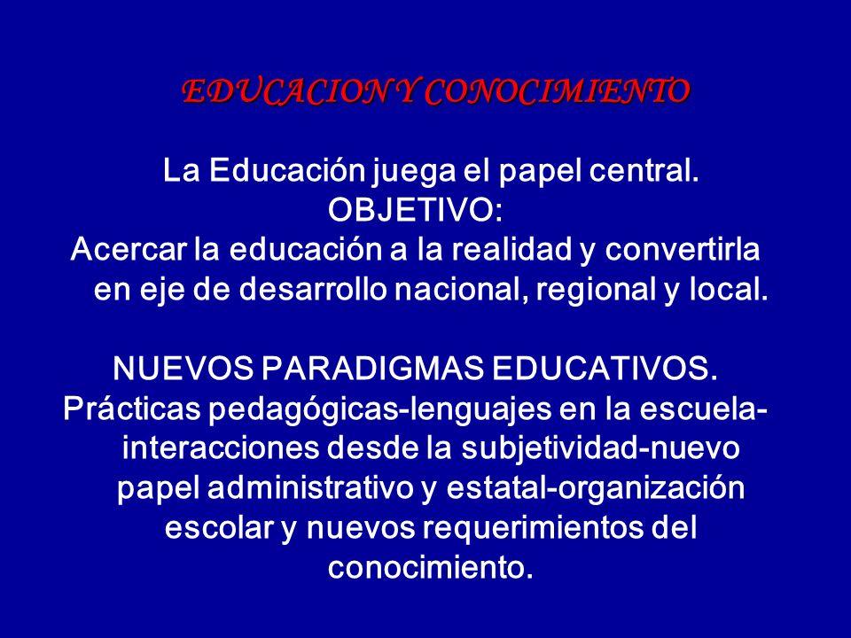 EDUCACION Y CONOCIMIENTO La Educación juega el papel central. OBJETIVO: Acercar la educación a la realidad y convertirla en eje de desarrollo nacional