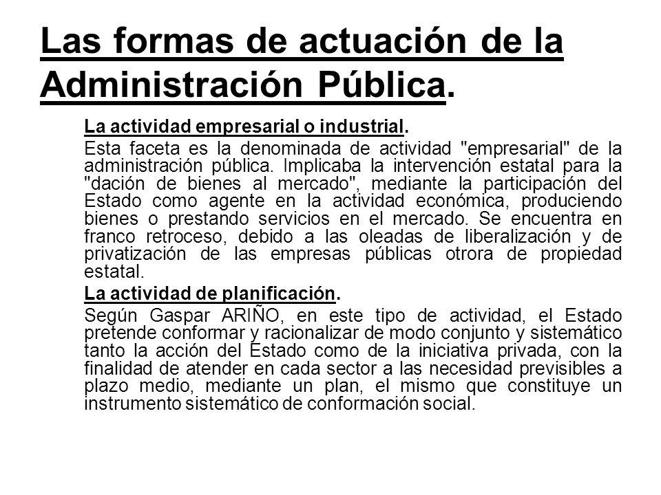Las formas de actuación de la Administración Pública. La actividad empresarial o industrial. Esta faceta es la denominada de actividad