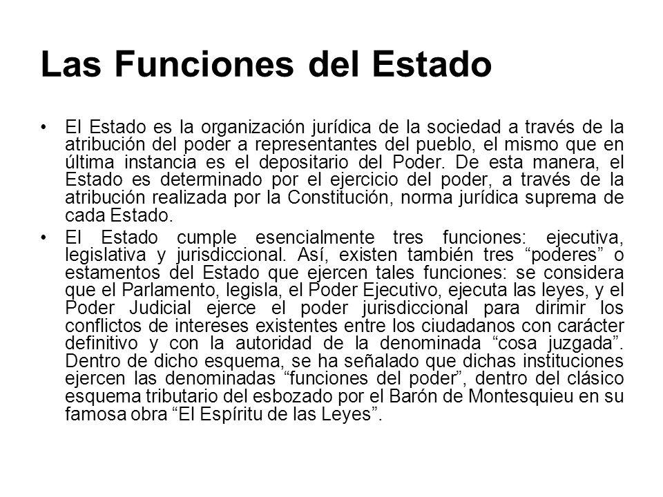 Las Funciones del Estado El Estado es la organización jurídica de la sociedad a través de la atribución del poder a representantes del pueblo, el mism