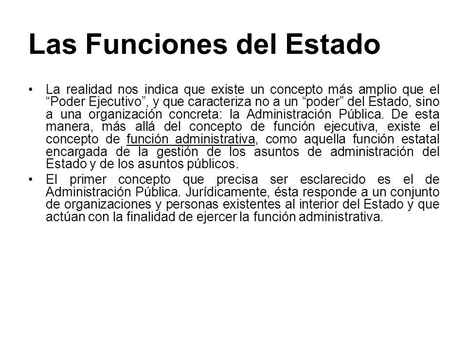 Las Funciones del Estado Entre los conceptos de Estado, Poder Ejecutivo y Administración Pública.