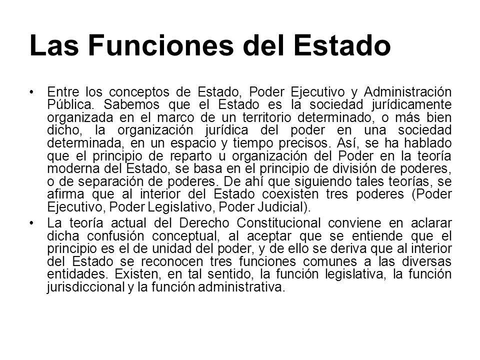Las Funciones del Estado Entre los conceptos de Estado, Poder Ejecutivo y Administración Pública. Sabemos que el Estado es la sociedad jurídicamente o