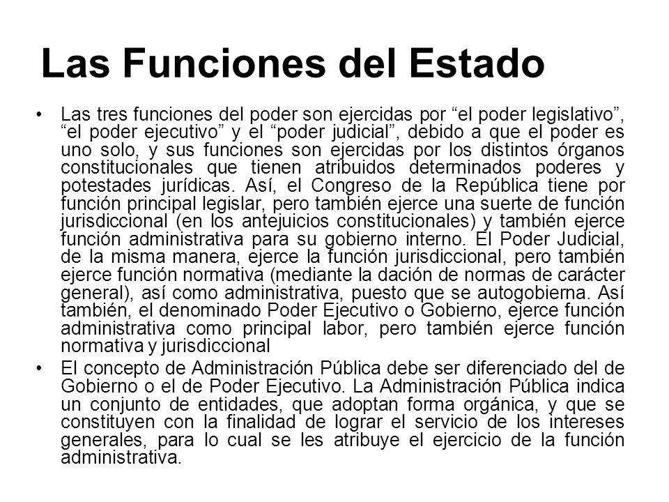 Las Funciones del Estado Las tres funciones del poder son ejercidas por el poder legislativo, el poder ejecutivo y el poder judicial, debido a que el