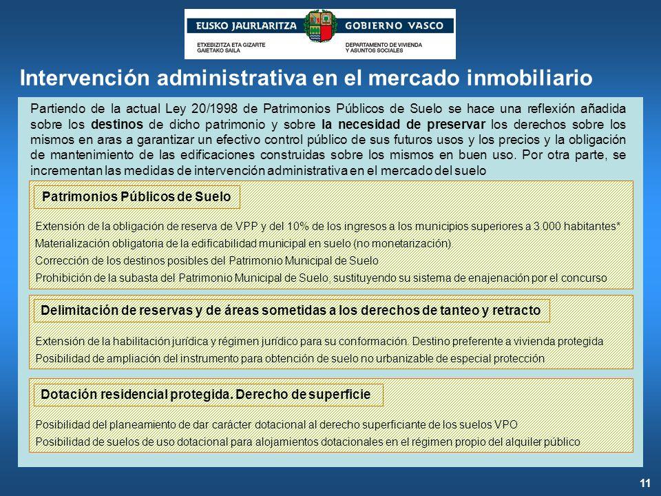 Intervención administrativa en el mercado inmobiliario Partiendo de la actual Ley 20/1998 de Patrimonios Públicos de Suelo se hace una reflexión añadi