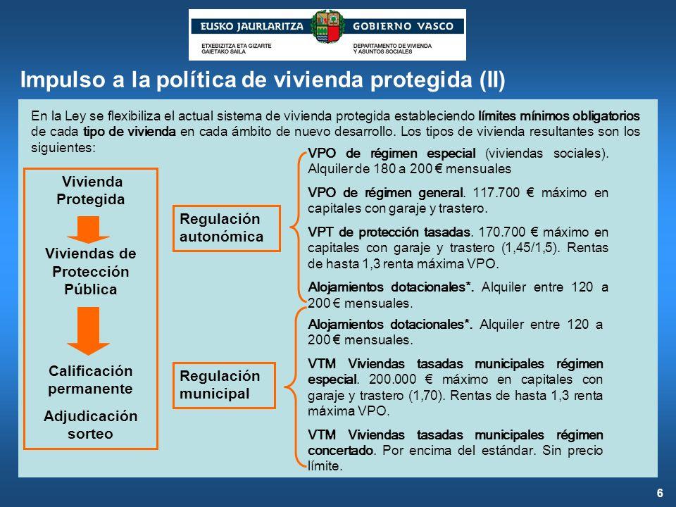 Impulso a la política de vivienda protegida (II) En la Ley se flexibiliza el actual sistema de vivienda protegida estableciendo límites mínimos obliga