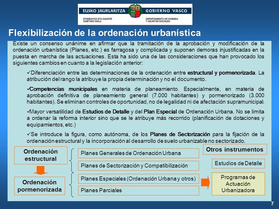 Flexibilización de la ordenación urbanística Existe un consenso unánime en afirmar que la tramitación de la aprobación y modificación de la ordenación