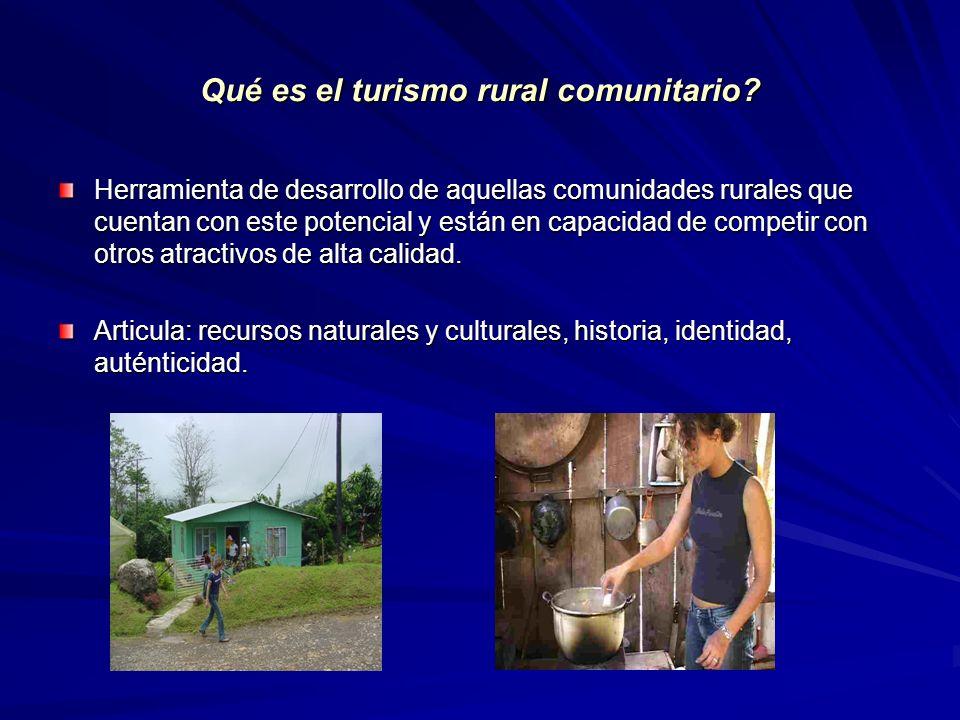 Ley de Fomento al Turismo Rural Comunitario De igual manera los municipios deberán a establecer mecanismos para que las comunidades organizadas participen en la planificación del desarrollo turístico local, desarrollar e implementar políticas de fomento al sector basado en criterios de sostenibilidad, y crear una oficina de gestión local en turismo rural comunitario, con el fin de incentivar la coordinación de las actividades turísticas de la comunidad y la regulación competente.