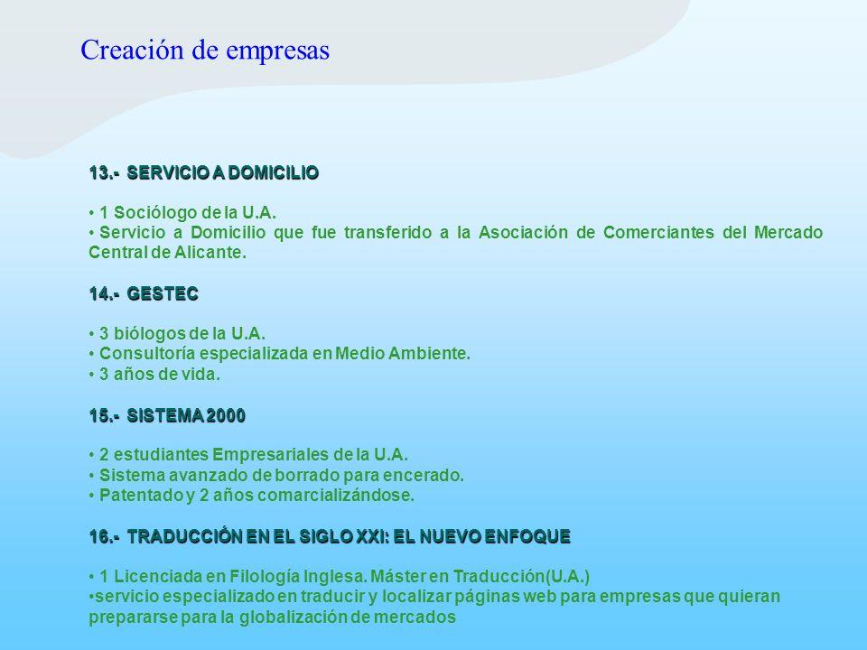 13.- SERVICIO A DOMICILIO 1 Sociólogo de la U.A. Servicio a Domicilio que fue transferido a la Asociación de Comerciantes del Mercado Central de Alica