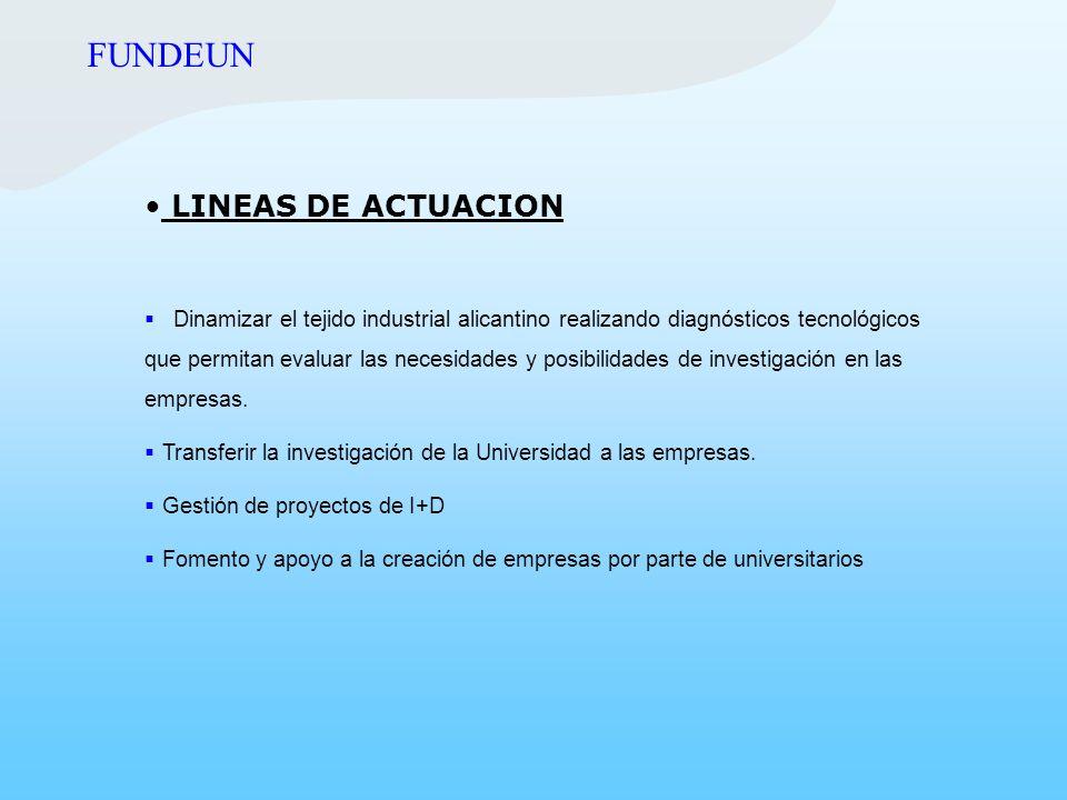 LINEAS DE ACTUACION Dinamizar el tejido industrial alicantino realizando diagnósticos tecnológicos que permitan evaluar las necesidades y posibilidade