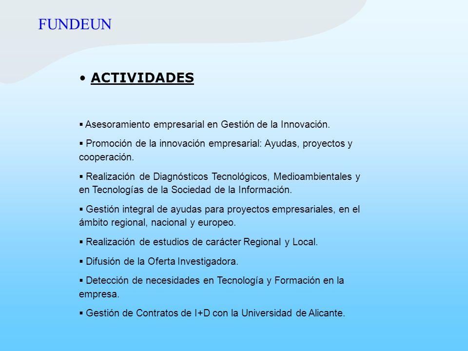 ACTIVIDADES Asesoramiento empresarial en Gestión de la Innovación. Promoción de la innovación empresarial: Ayudas, proyectos y cooperación. Realizació