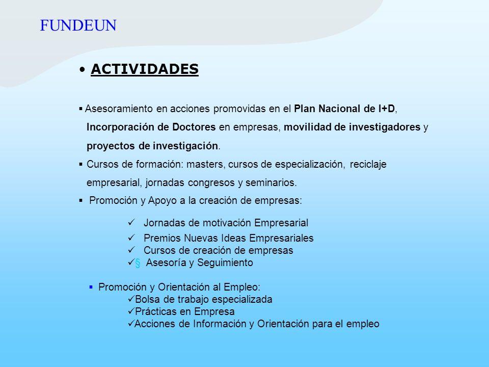 ACTIVIDADES Asesoramiento en acciones promovidas en el Plan Nacional de I+D, Incorporación de Doctores en empresas, movilidad de investigadores y proy
