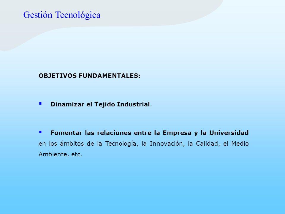 OBJETIVOS FUNDAMENTALES: Dinamizar el Tejido Industrial. Fomentar las relaciones entre la Empresa y la Universidad en los ámbitos de la Tecnología, la
