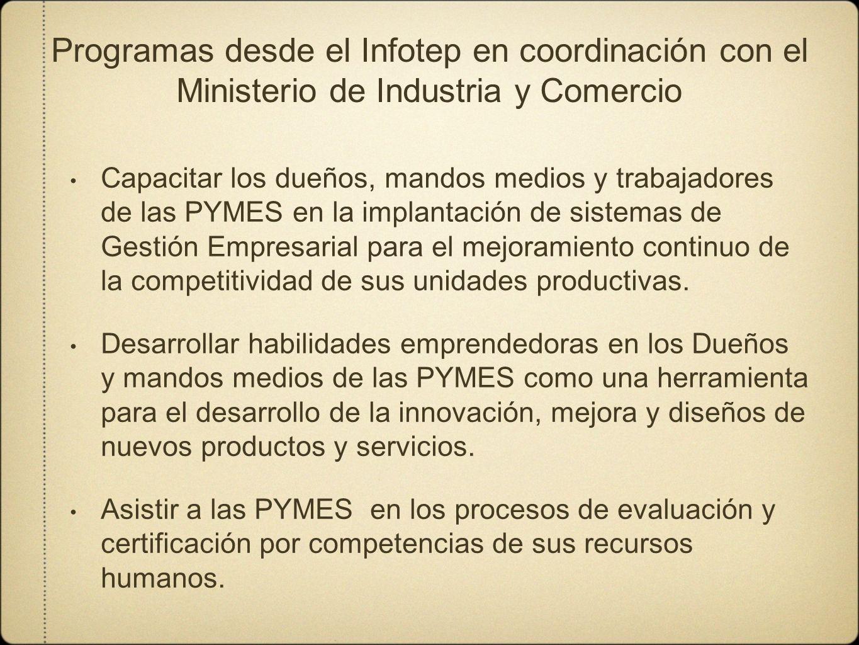 Programas desde el Infotep en coordinación con el Ministerio de Industria y Comercio Capacitar los dueños, mandos medios y trabajadores de las PYMES e