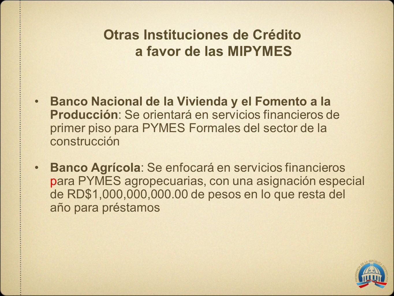Otras Instituciones de Crédito a favor de las MIPYMES Banco Nacional de la Vivienda y el Fomento a la Producción: Se orientará en servicios financiero