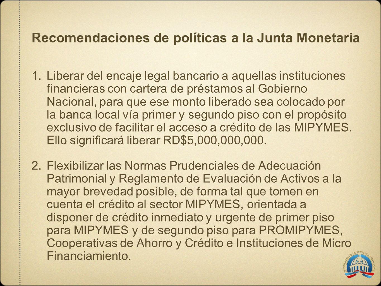 Recomendaciones de políticas a la Junta Monetaria 1.Liberar del encaje legal bancario a aquellas instituciones financieras con cartera de préstamos al