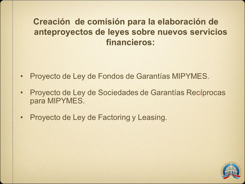 Creación de comisión para la elaboración de anteproyectos de leyes sobre nuevos servicios financieros: Proyecto de Ley de Fondos de Garantías MIPYMES.