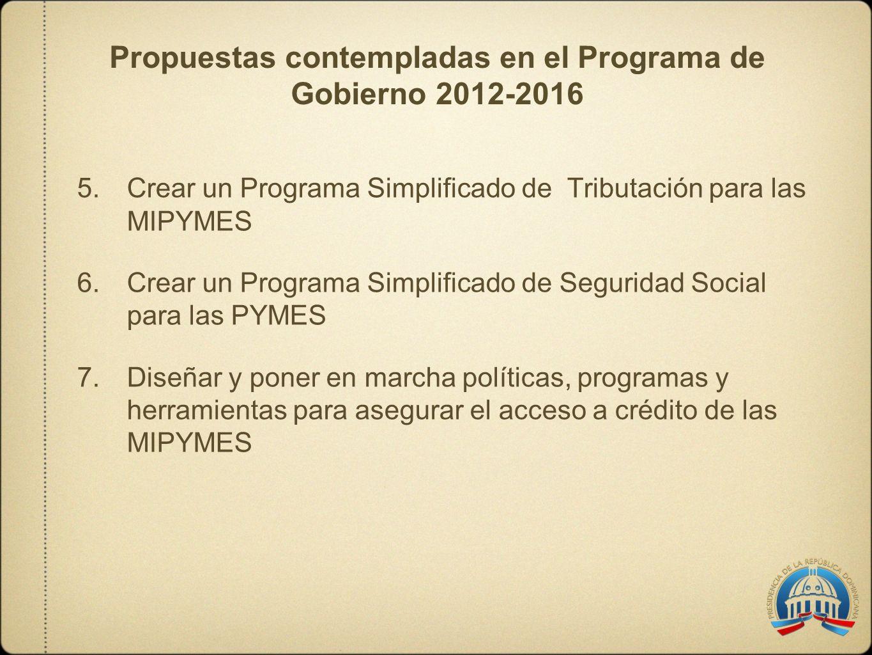 5.Crear un Programa Simplificado de Tributación para las MIPYMES 6.Crear un Programa Simplificado de Seguridad Social para las PYMES 7.Diseñar y poner