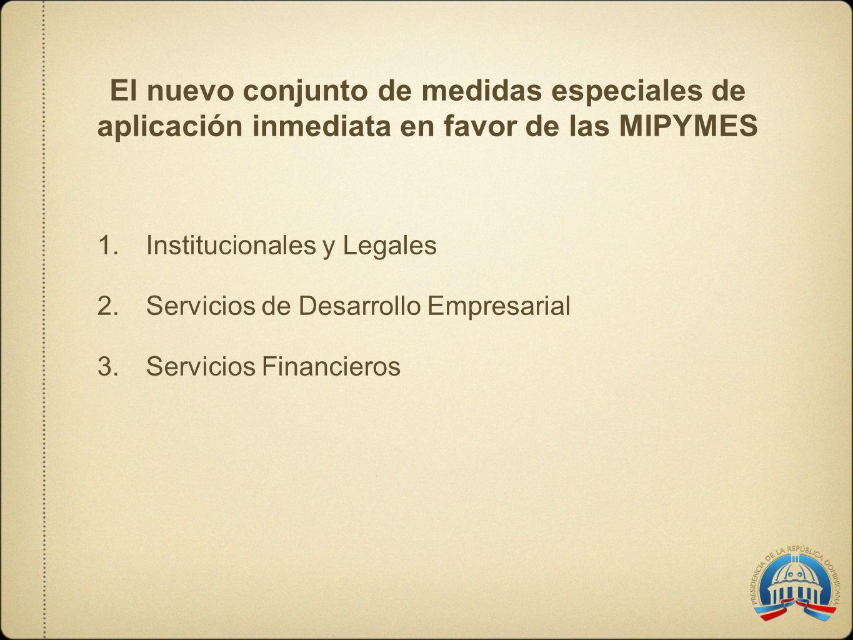 El nuevo conjunto de medidas especiales de aplicación inmediata en favor de las MIPYMES 1.Institucionales y Legales 2.Servicios de Desarrollo Empresar