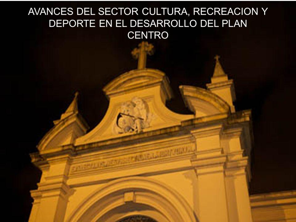 SECTOR CULTURA, RECREACIÓN Y DEPORTE RESPONSABILIDADES DEL SECTOR CULTURA, RECREACIÓN Y DEPORTE EN LA OPERACIÓN CENTRO (DECRETO 492/2007) Garantizará los derechos a la cultura, la recreación y el deporte, así como el fortalecimiento de los campos cultural, histórico, artístico, patrimonial y deportivo en el centro Ejecutará las políticas, planes y proyectos para el ejercicio efectivo de los derechos patrimoniales y culturales de los habitantes del centro Estará a cargo de la protección, intervención, investigación, promoción y divulgación del patrimonio cultural tangible e intangible y de los bienes de interés cultural del centro Incluirá en el censo de patrimonio cultural inmaterial para Bogotá un capítulo para el centro Revisará el listado de los predios clasificados como de Conservación Arquitectónica y/o de los Bienes de Interés Cultural en los Decretos Distritales 678 de 1994 y 606 de 2001