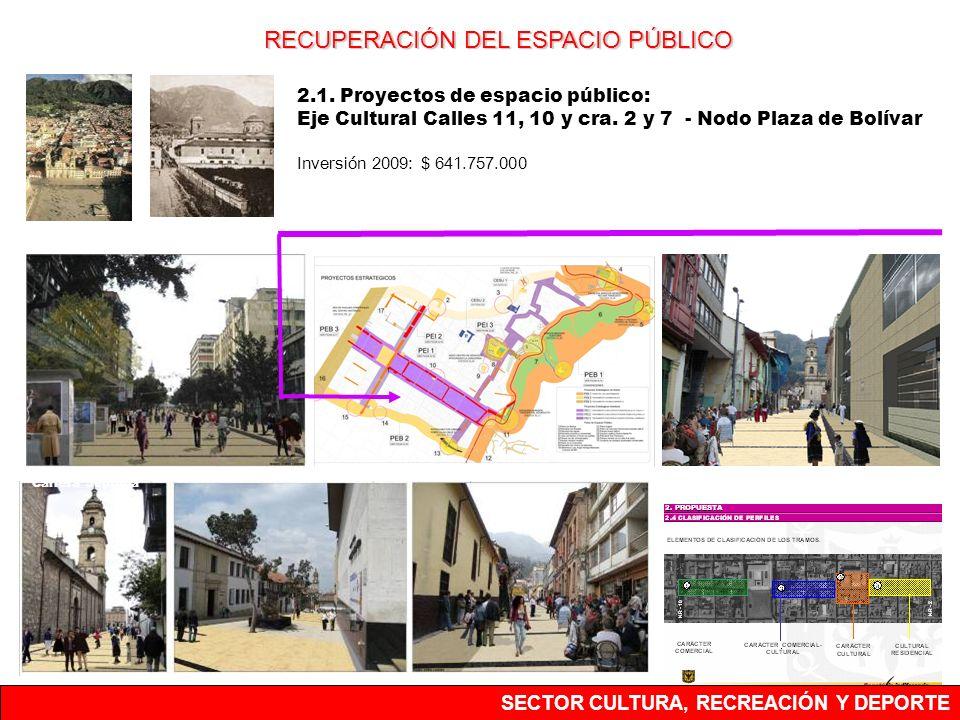 2.1. Proyectos de espacio público: Eje Cultural Calles 11, 10 y cra. 2 y 7 - Nodo Plaza de Bolívar Inversión 2009: $ 641.757.000 Carrera Séptima Calle
