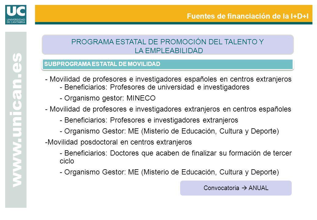 www.unican.es Fuentes de financiación de la I+D+I SUBPROGRAMA ESTATAL DE MOVILIDAD - Movilidad de profesores e investigadores españoles en centros ext