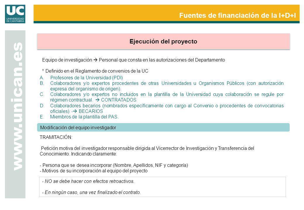 Fuentes de financiación de la I+D+I www.unican.es Ejecución del proyecto Modificación del equipo investigador - NO se debe hacer con efectos retroacti