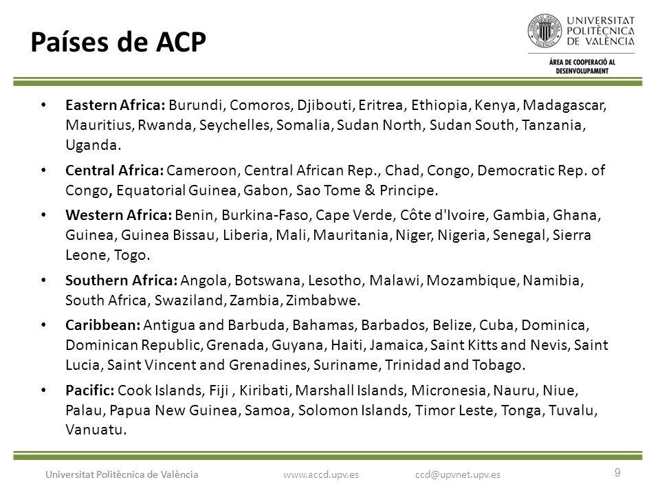9 Universitat Politècnica de València Países de ACP Eastern Africa: Burundi, Comoros, Djibouti, Eritrea, Ethiopia, Kenya, Madagascar, Mauritius, Rwanda, Seychelles, Somalia, Sudan North, Sudan South, Tanzania, Uganda.