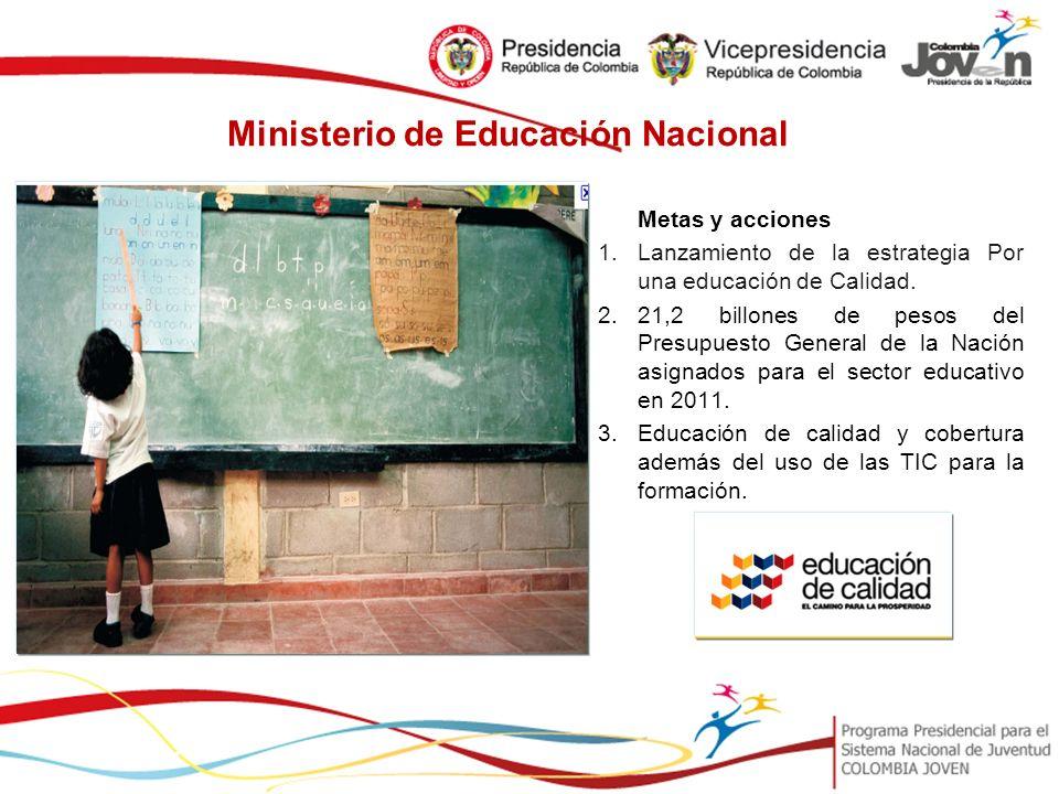 Ministerio de Educación Nacional Metas y acciones 1.Lanzamiento de la estrategia Por una educación de Calidad.