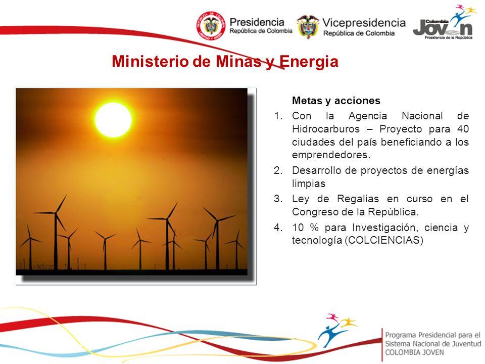 Ministerio de Minas y Energia Metas y acciones 1.Con la Agencia Nacional de Hidrocarburos – Proyecto para 40 ciudades del país beneficiando a los emprendedores.