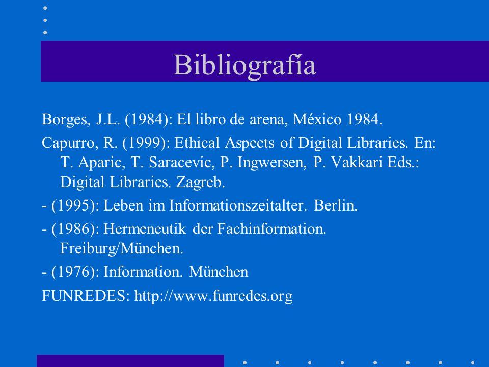 Bibliografía Borges, J.L. (1984): El libro de arena, México 1984. Capurro, R. (1999): Ethical Aspects of Digital Libraries. En: T. Aparic, T. Saracevi