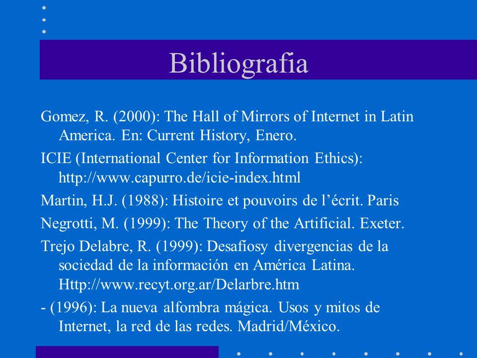 Bibliografía Unesco: World Communication and Information Report 1999-2000 http://www.unesco.org/webworld/wcir/en/index.html Unesco: VF-INFO-ethics: http://www.de3.emb.net/infoethics/ Unesco: Observatory on the Information Society http://www.unesco.org/webworld/observatory/newsletter/inde x_es.html Urribarrí, R.