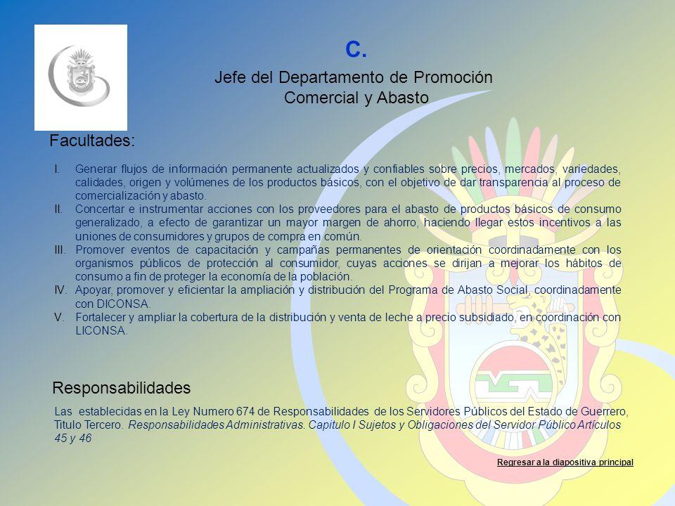C. Facultades: Responsabilidades Regresar a la diapositiva principal Jefe del Departamento de Promoción Comercial y Abasto I.Generar flujos de informa