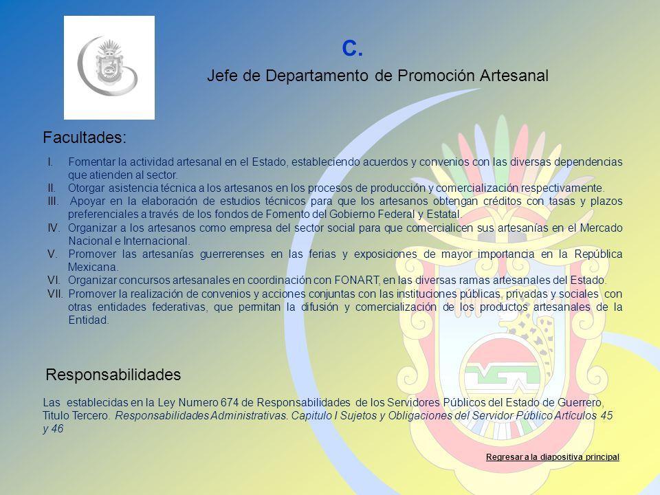 C. Facultades: Responsabilidades Regresar a la diapositiva principal Jefe de Departamento de Promoción Artesanal I.Fomentar la actividad artesanal en