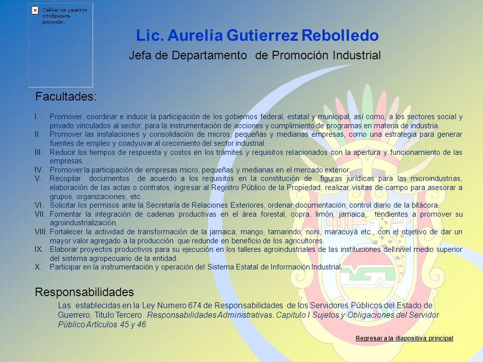 Lic. Aurelia Gutierrez Rebolledo Facultades: Responsabilidades Regresar a la diapositiva principal Jefa de Departamento de Promoción Industrial I.Prom