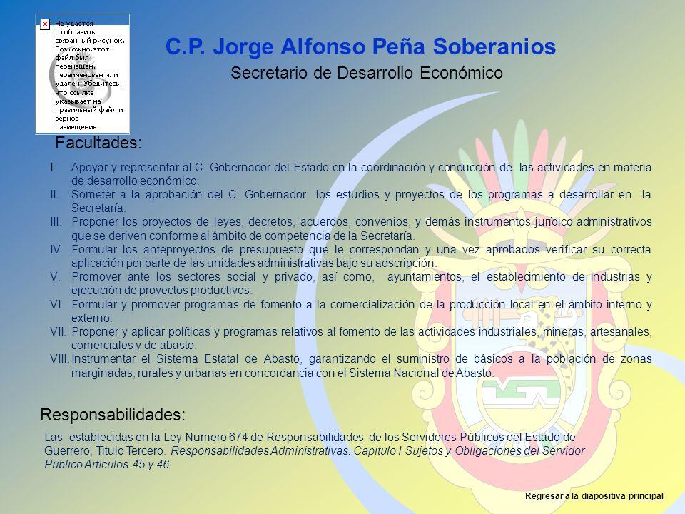 C.P. Jorge Alfonso Peña Soberanios Facultades: Responsabilidades: Regresar a la diapositiva principal Secretario de Desarrollo Económico Las estableci