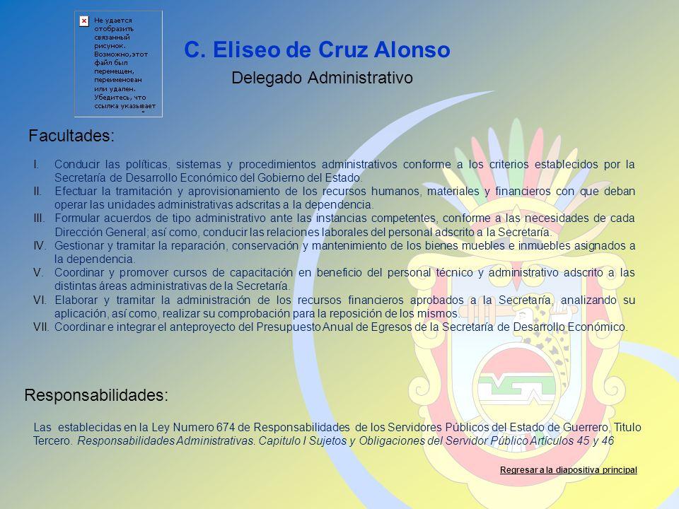 C. Eliseo de Cruz Alonso Facultades: Responsabilidades: Regresar a la diapositiva principal Delegado Administrativo I.Conducir las políticas, sistemas