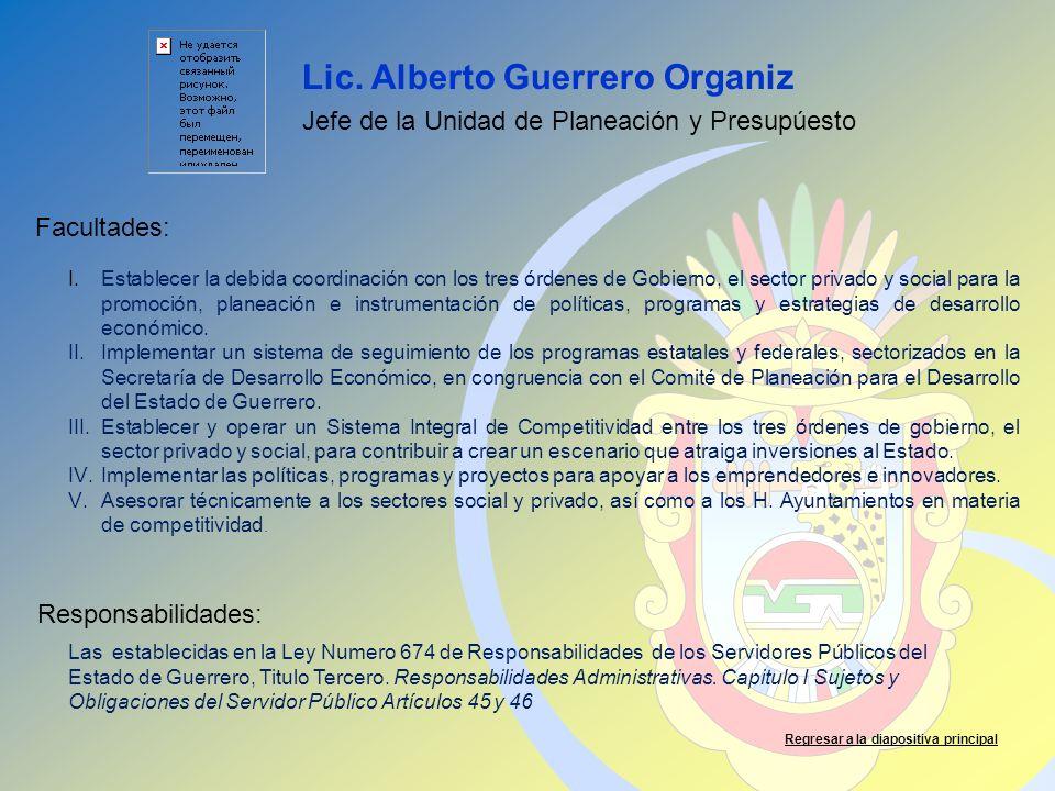Lic. Alberto Guerrero Organiz Facultades: Responsabilidades: Regresar a la diapositiva principal Jefe de la Unidad de Planeación y Presupúesto I.Estab
