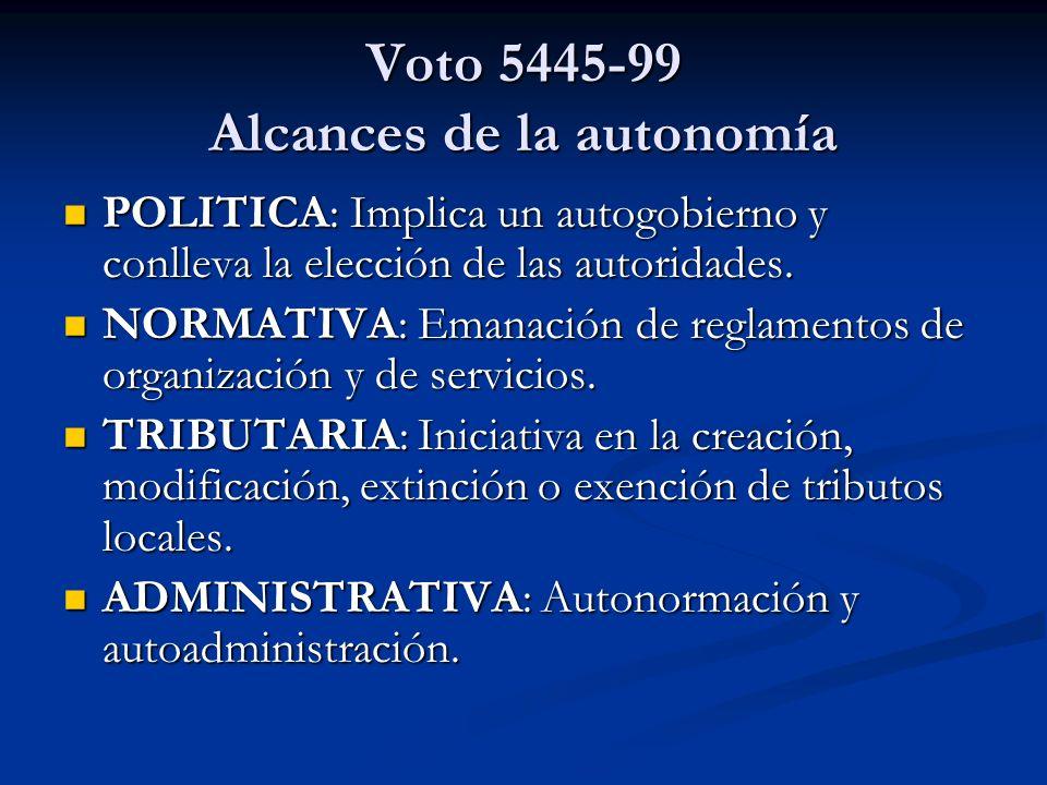 Voto 5445-99 Alcances de la autonomía POLITICA: Implica un autogobierno y conlleva la elección de las autoridades. POLITICA: Implica un autogobierno y