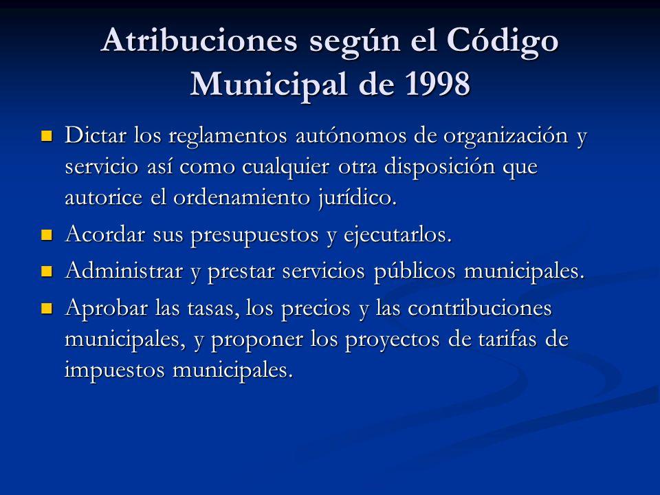 Atribuciones según el Código Municipal de 1998 Dictar los reglamentos autónomos de organización y servicio así como cualquier otra disposición que aut