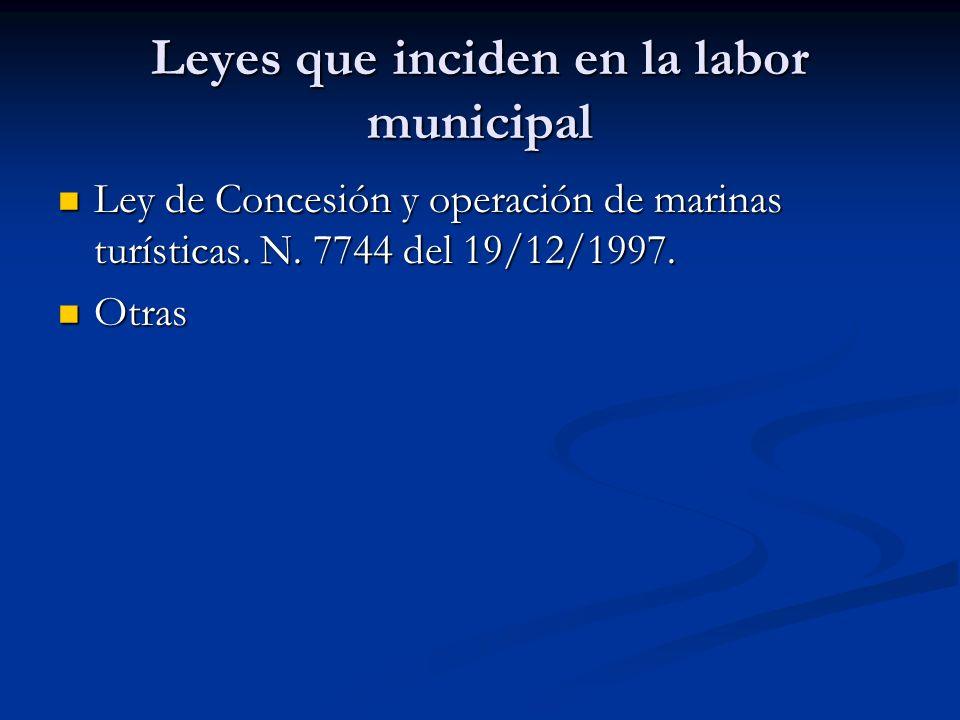 Leyes que inciden en la labor municipal Ley de Concesión y operación de marinas turísticas. N. 7744 del 19/12/1997. Ley de Concesión y operación de ma