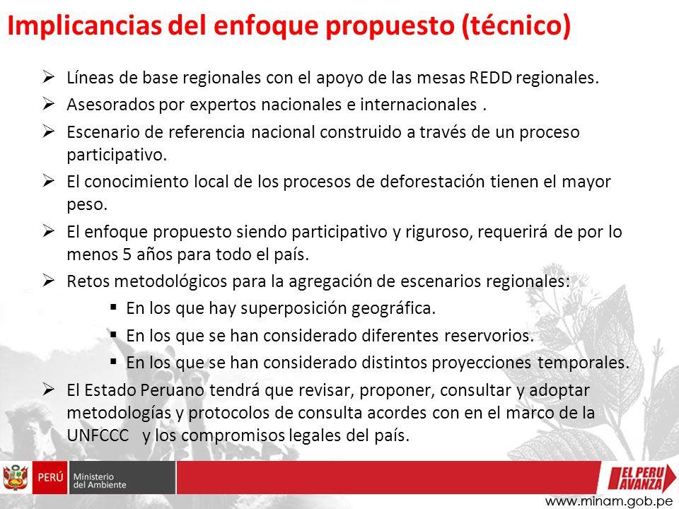 Implicancias del enfoque propuesto (técnico) Líneas de base regionales con el apoyo de las mesas REDD regionales.