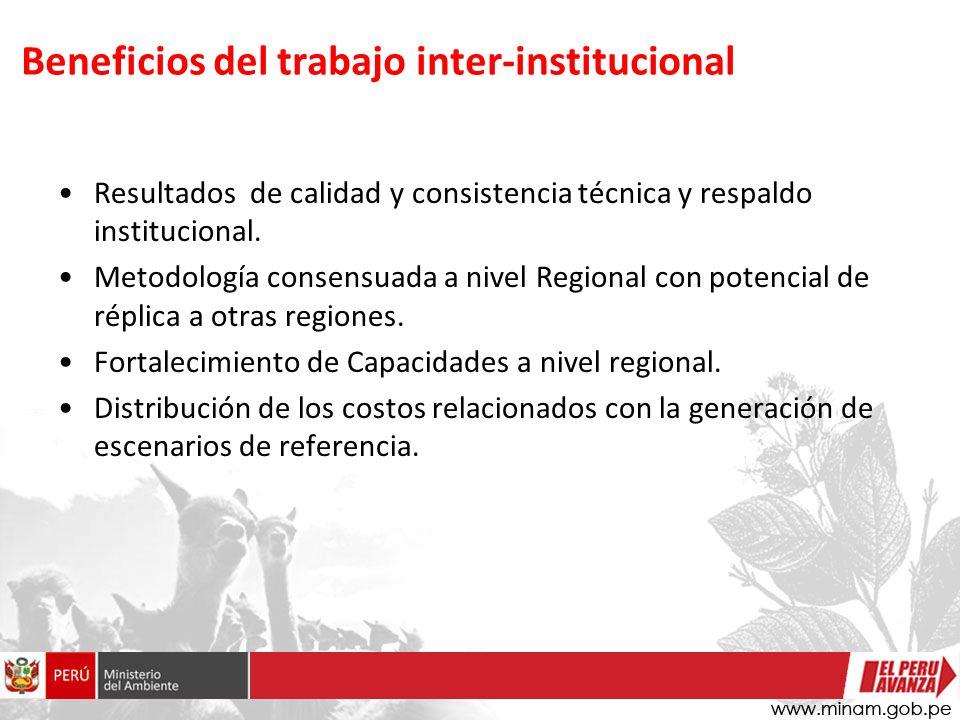 Beneficios del trabajo inter-institucional Resultados de calidad y consistencia técnica y respaldo institucional.