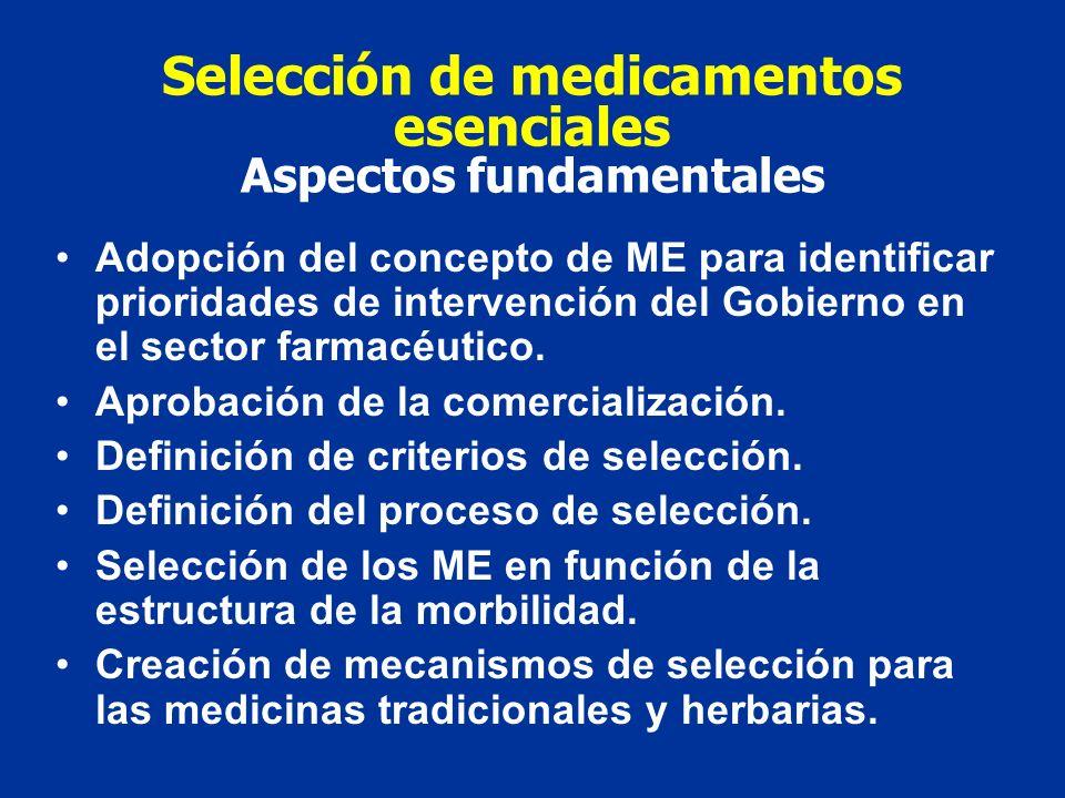 Selección de medicamentos esenciales Aspectos fundamentales Adopción del concepto de ME para identificar prioridades de intervención del Gobierno en el sector farmacéutico.
