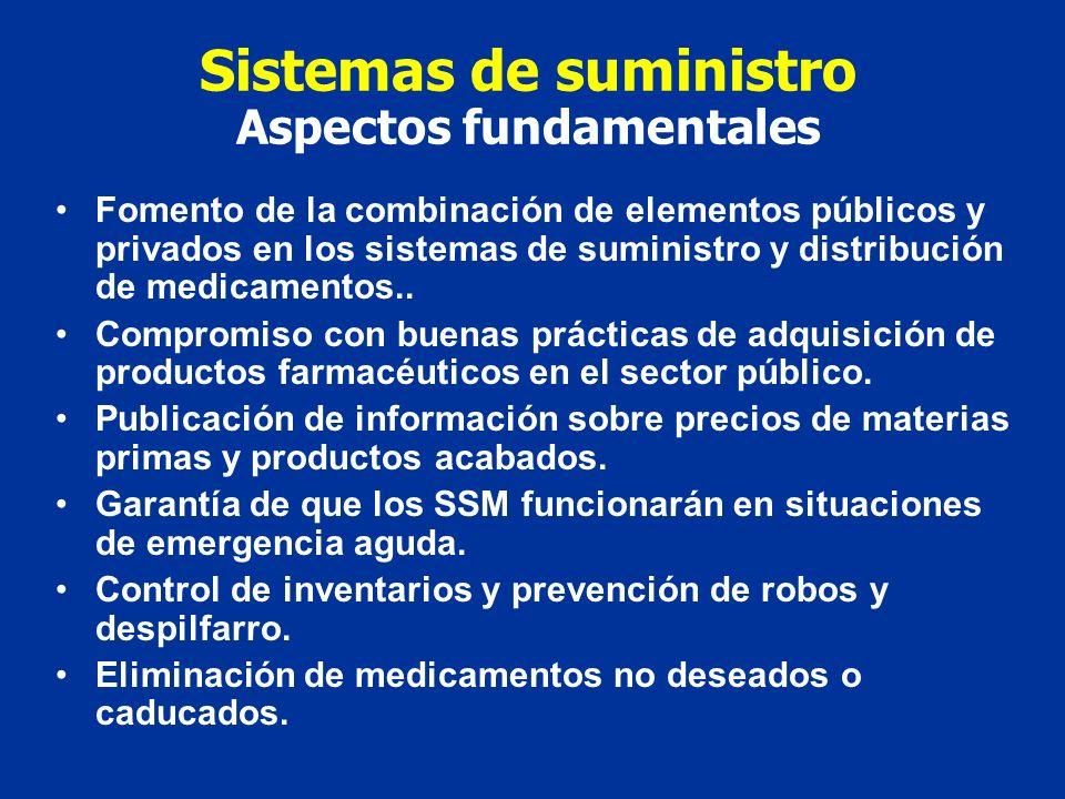 Sistemas de suministro Aspectos fundamentales Fomento de la combinación de elementos públicos y privados en los sistemas de suministro y distribución de medicamentos..