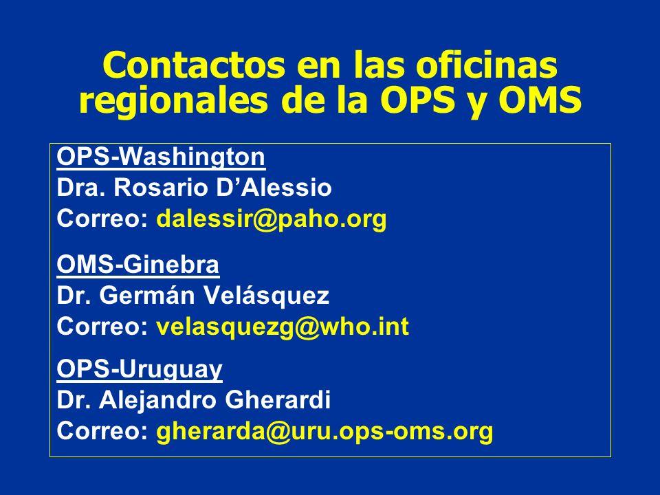 Contactos en las oficinas regionales de la OPS y OMS OPS-Washington Dra. Rosario DAlessio Correo: dalessir@paho.org OMS-Ginebra Dr. Germán Velásquez C