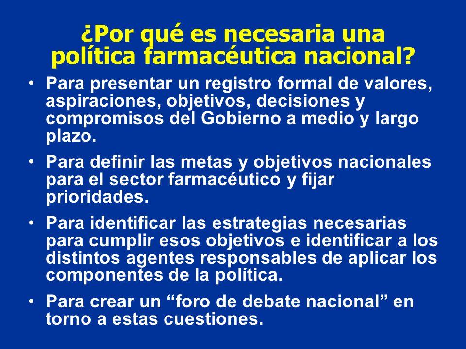 Objetivos generales de una política farmacéutica nacional ASEGURAR Disponibilidad equitativa y asequibilidad de los medicamentos esenciales, incluidos los de la Medicina Tradicional (ACCESO).