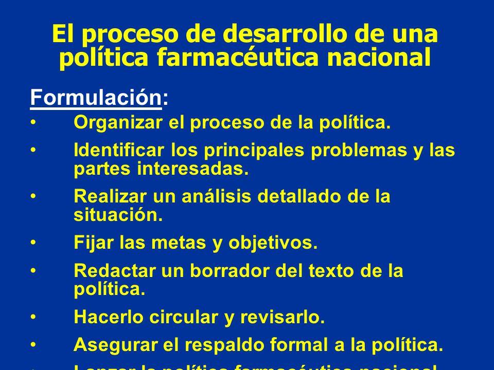 El proceso de desarrollo de una política farmacéutica nacional Formulación: Organizar el proceso de la política. Identificar los principales problemas